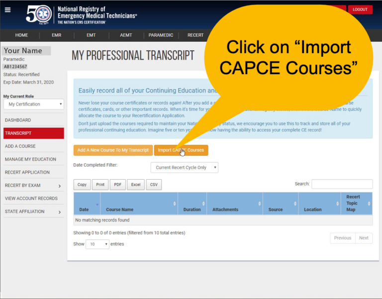 Import CAPCE Courses